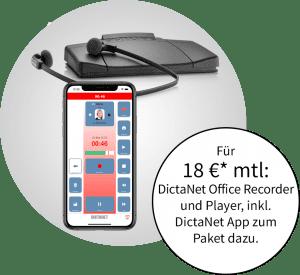 Unser Angebot mit der DictaNet App und Transkriptionsset
